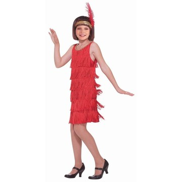Girls Red Flapper Costume