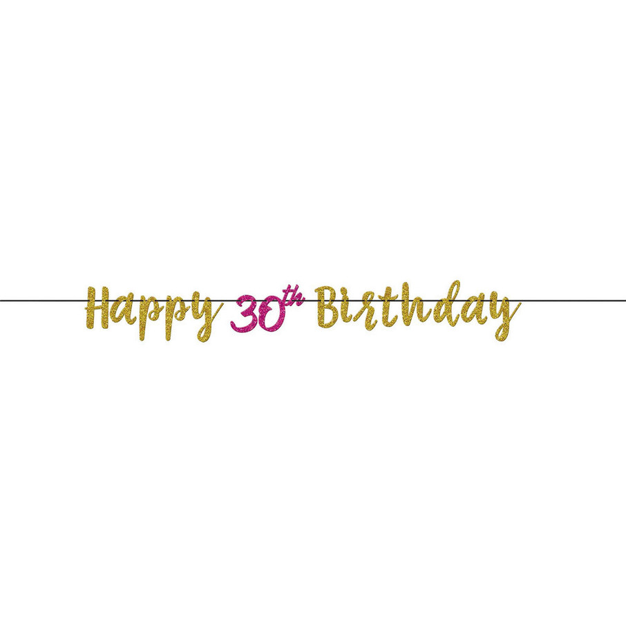 View larger image of Glitter Pink & Gold 30th Birthday Letter Banner (1)