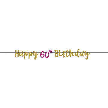 Glitter Pink & Gold 60th Birthday Letter Banner (1)