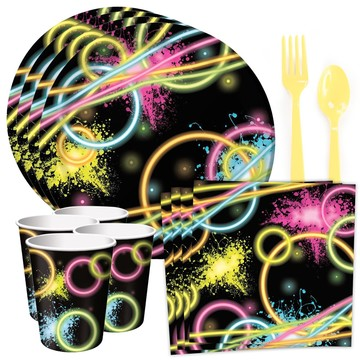 Glow Birthday Party Standard Tableware Kit (Serves 8)