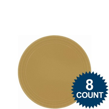 "Gold 7"" Paper Cake Plates (8 Pack)"