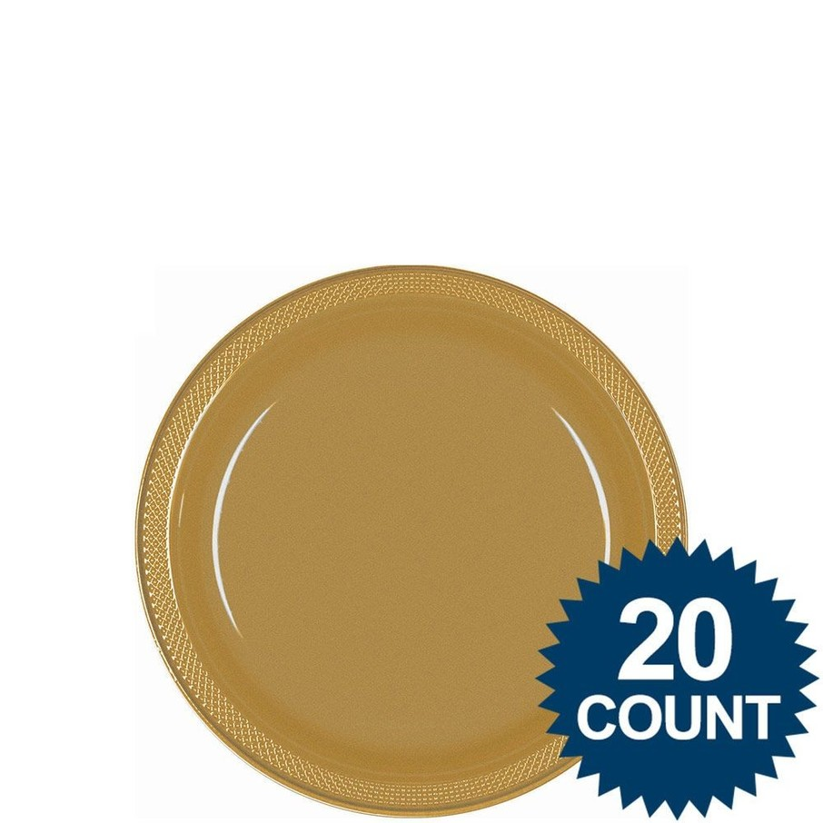 """View larger image of Gold 7"""" Plastic Cake Plates (20 Pack)"""