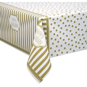 Gold and White Birthday Plastic Tablecover