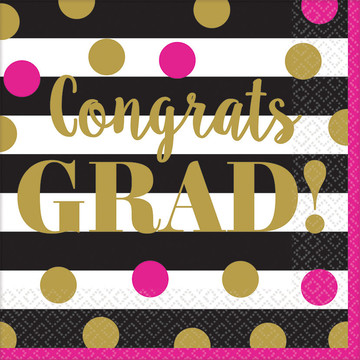 Gold Confetti Grad Luncheon Napkins (36 Count)