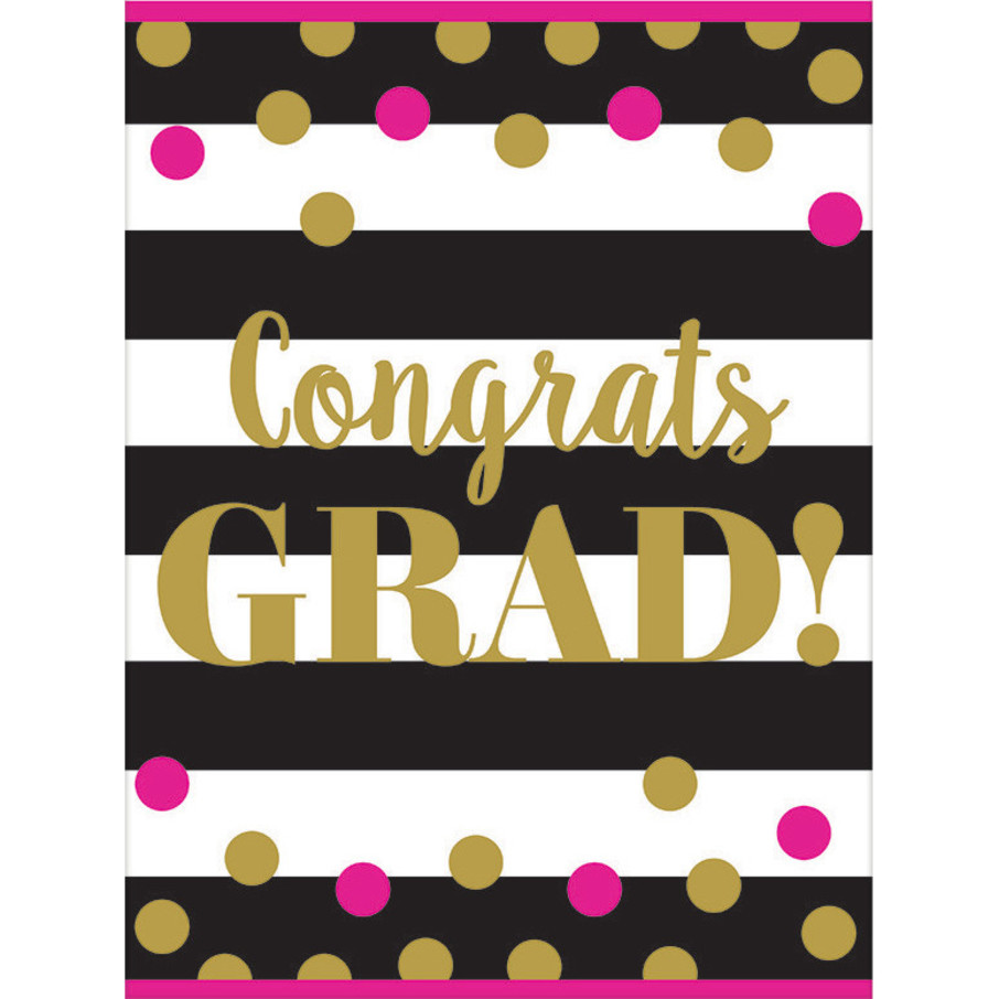View larger image of Gold Confetti Grad Plastic Table Cover