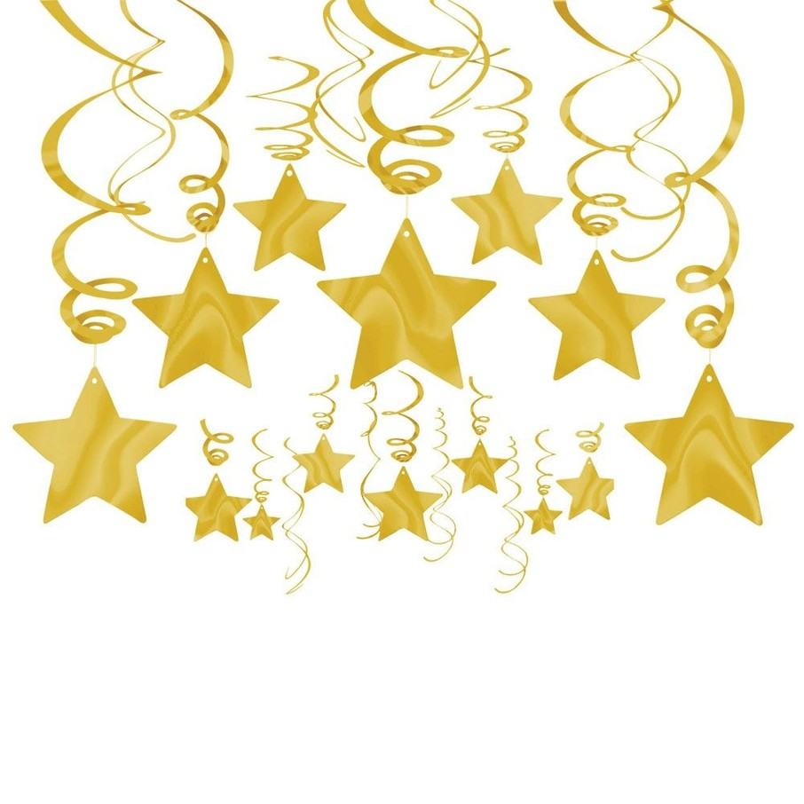 View larger image of Gold Foil Star Hanging Decorations (Each)