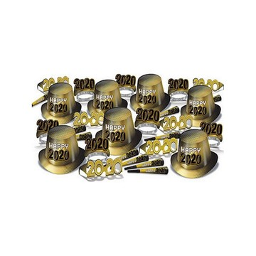 """Gold New Year """"2020"""" Assorted Party Kit for 50"""