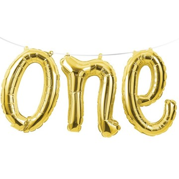 Gold One Air Filled Balloon Banner