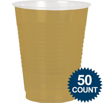 Gold Plastic 16Oz. Cup (50 Pack)