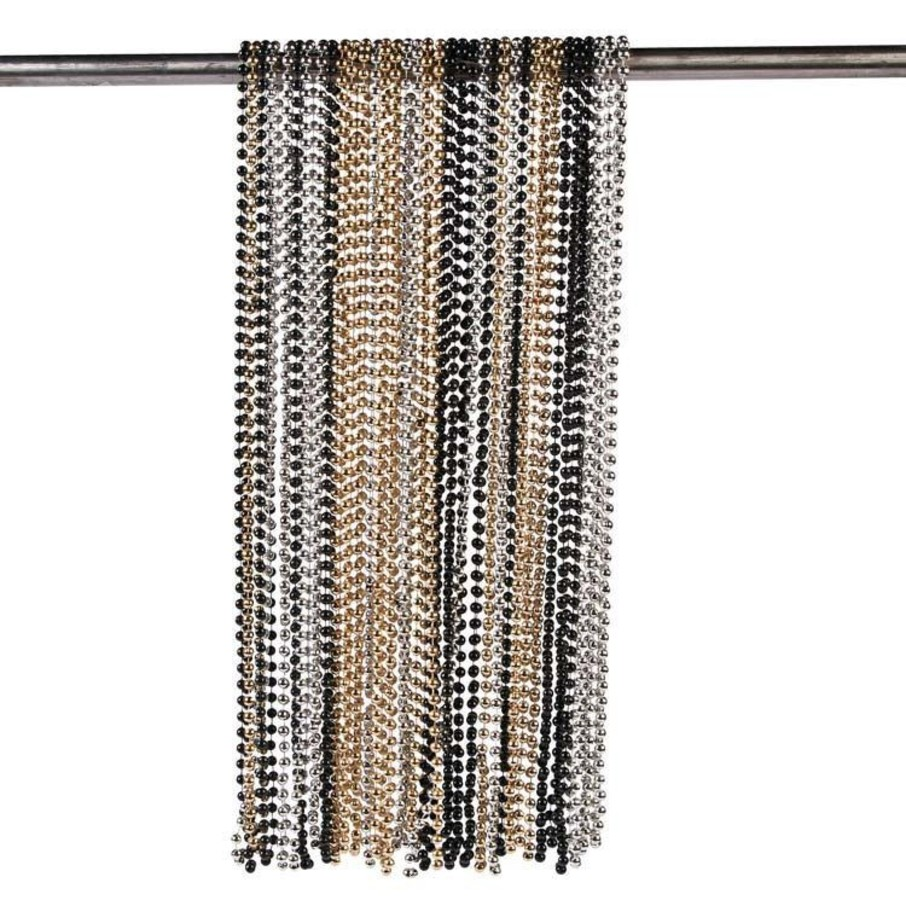 "View larger image of Gold/Silver/Black 32"" Plastic Bead Necklaces (48 Pack)"