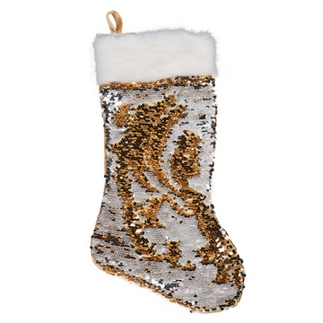 Gold Silver Reversible Sequin Stocking