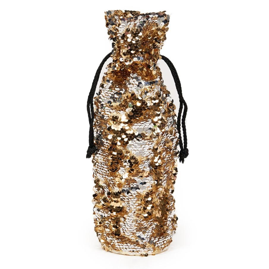View larger image of Gold Silver Reversible Sequin Wine Bag