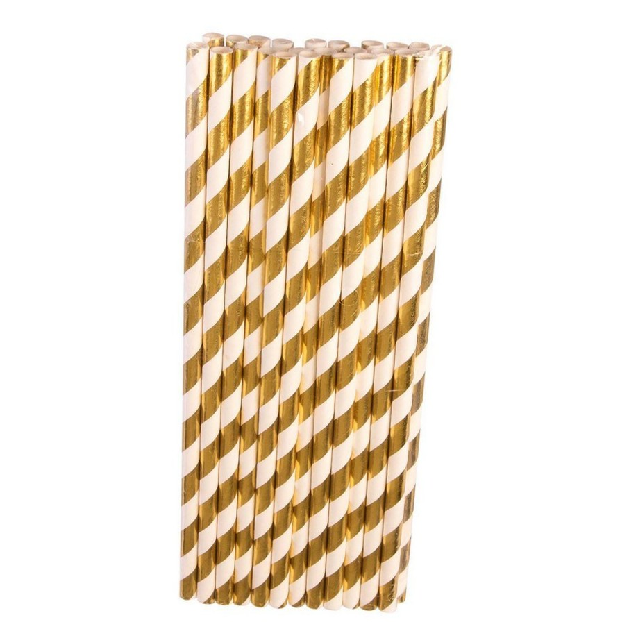 View larger image of Gold & White Paper Straws, 24ct