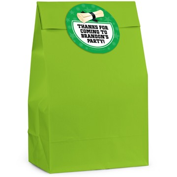 Grad Green Personalized Favor Bag (12 Pack)