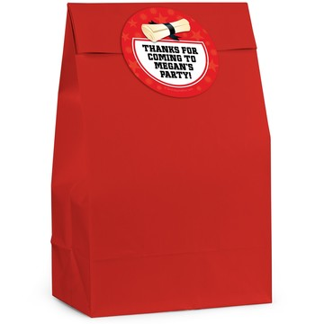 Grad Red Personalized Favor Bag (12 Pack)