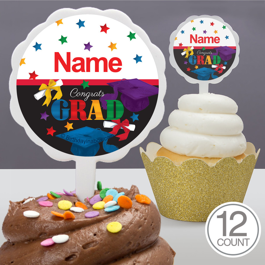 View larger image of Grad Spirit Personalized Cupcake Picks (12 Count)