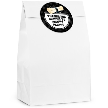 Grad White Personalized Favor Bag (12 Pack)