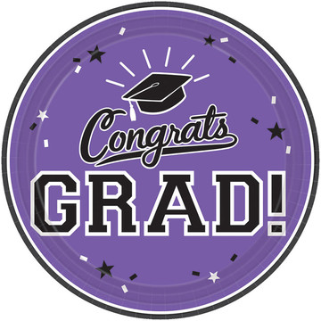 "Graduation 10"" Dinner Plate Purple (18 Count)"