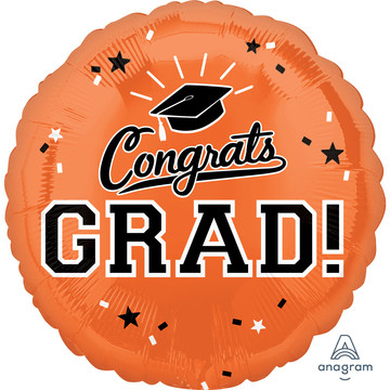 "Graduation 18"" Foil Balloon Orange (1)"