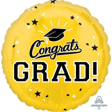 "Graduation 18"" Foil Balloon Yellow (1)"