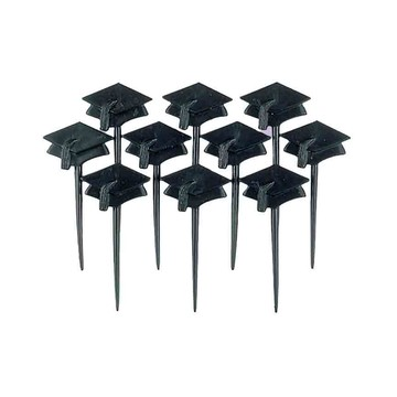 "Graduation 3"" Black Plastic Cap Picks (10 Count)"