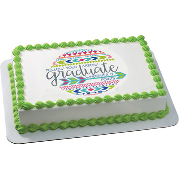 Graduation Arrow Quarter Sheet Edible Cake Topper (Each)