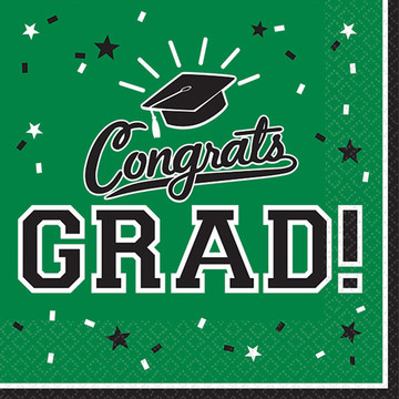 Graduation Beverage Napkins Green (36 Count)