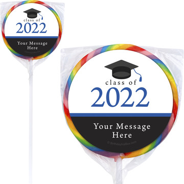 "Graduation Day Blue Personalized 3"" Lollipops (12 Pack)"