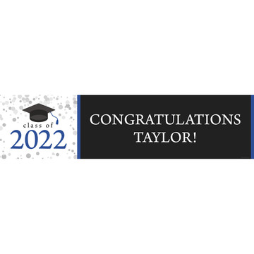 Graduation Day Blue Personalized Banner (Each)