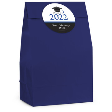 Graduation Day Blue Personalized Favor Bag (12 Pack)