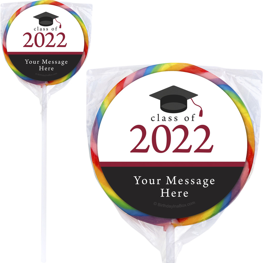 "View larger image of Graduation Day Burgundy Personalized 3"" Lollipops (12 Pack)"