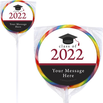 """Graduation Day Burgundy Personalized 3"""" Lollipops (12 Pack)"""