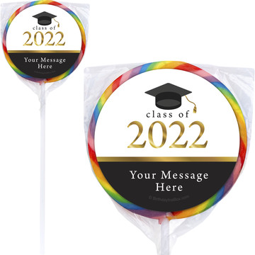 "Graduation Day Gold Personalized 3"" Lollipops (12 Pack)"