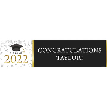 Graduation Day Gold Personalized Banner (Each)
