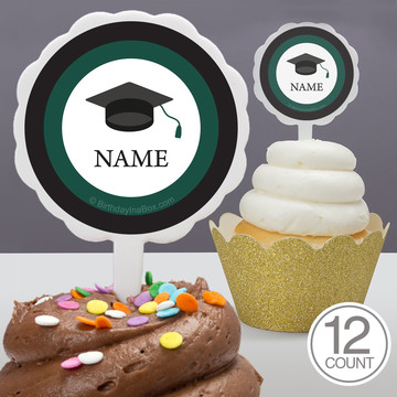 Graduation Day Green Personalized Cupcake Picks (12 Count)