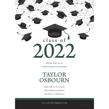 Graduation Day Green Personalized Invitation (Each)