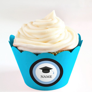 Graduation Day Light Blue Personalized Cupcake Wrappers (Set of 24)