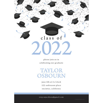 Graduation Day Light Blue Personalized Invitation (Each)