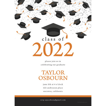 Graduation Day Orange Personalized Invitation (Each)
