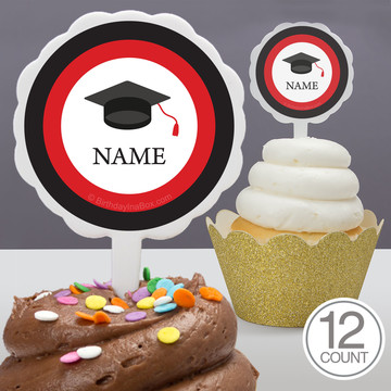 Graduation Day Red Personalized Cupcake Picks (12 Count)