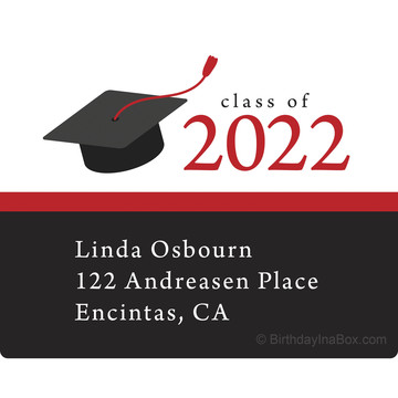 Graduation Day Red Personalized Rectangular Stickers (Sheet of 15)