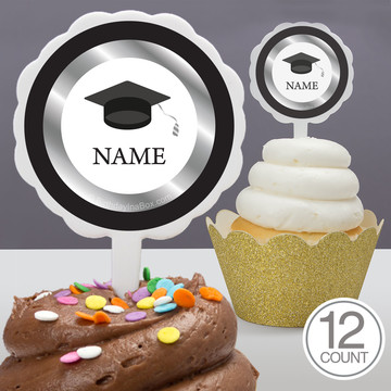 Graduation Day Silver Personalized Cupcake Picks (12 Count)