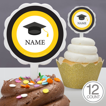 Graduation Day Yellow Personalized Cupcake Picks (12 Count)