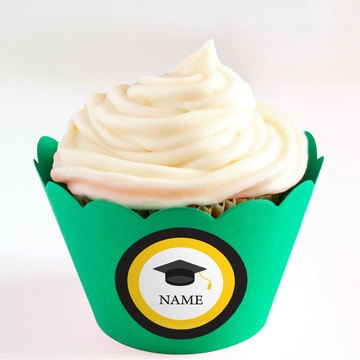 Graduation Day Yellow Personalized Cupcake Wrappers (Set of 24)