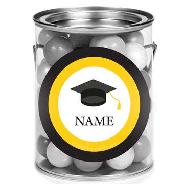 Graduation Day Yellow Personalized Mini Paint Cans (12 Count)
