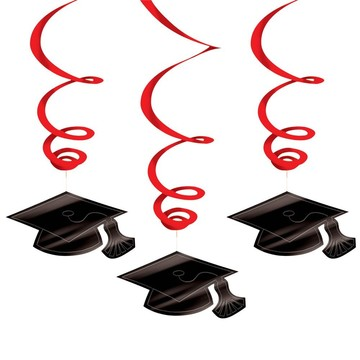 Graduation Foil Swirl Red Decorations (Each)