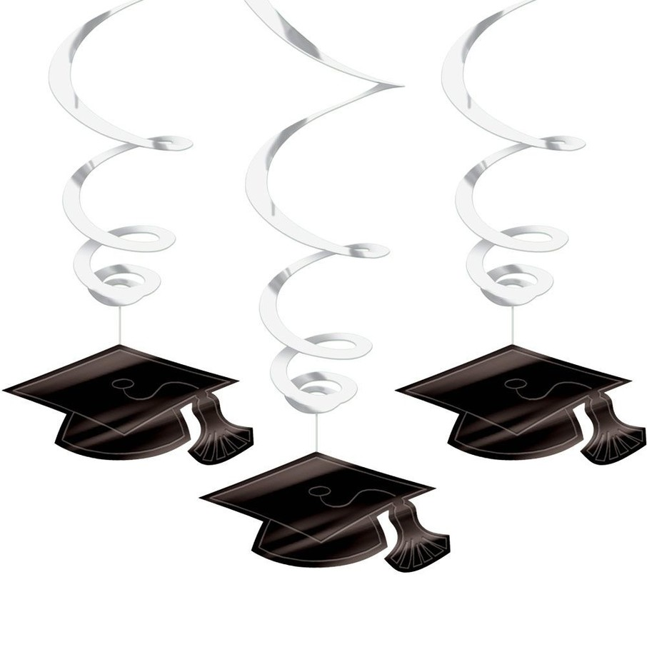 View larger image of Graduation Foil Swirl White Decorations (Each)