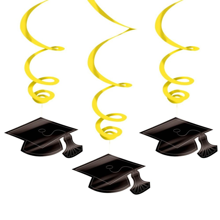View larger image of Graduation Foil Swirl Yellow Decorations (Each)