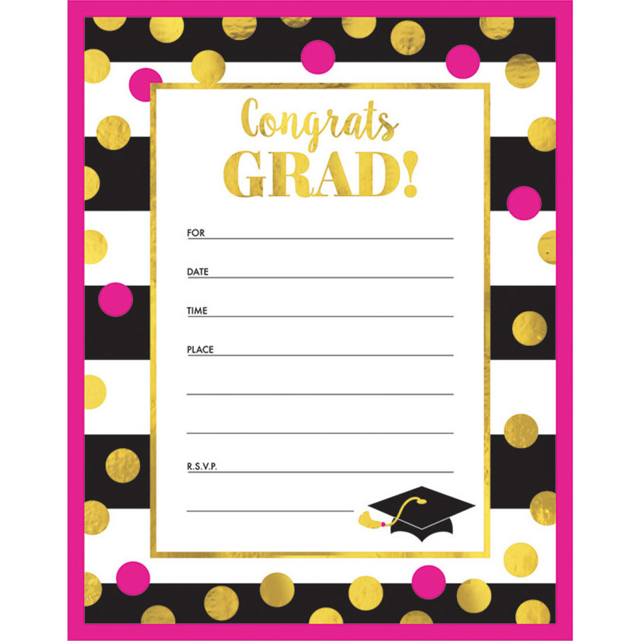 View larger image of Graduation Gold Confetti Invitations (20 Count)
