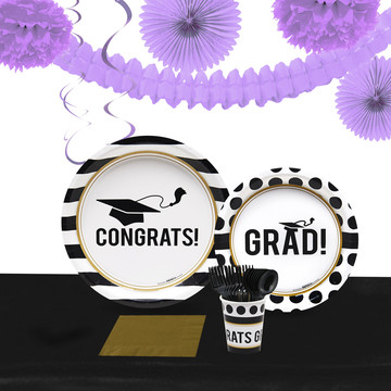 Graduation Party Pack for 40 With Lavender Decoration Kit